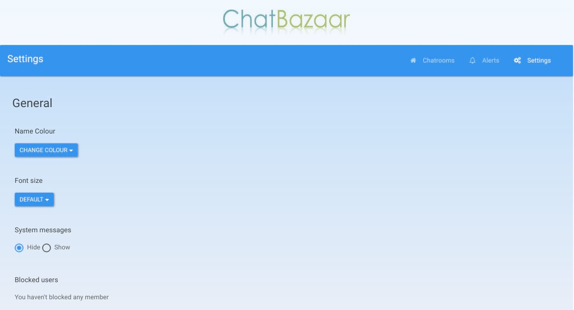 Online chatting room without registration